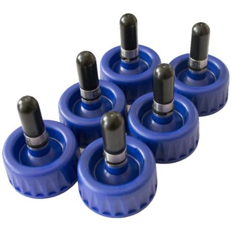 Lot de 6 * bouchons-valves 0,5L - noir pour AKZO/AXALTA/PPG/NEXA AUTOCOLOR